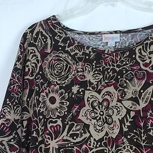 LulaRoe Irma tunic top. Brown and dark red floral